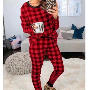 RED Black Buffalo Check Plaid Pajama Lounge Set